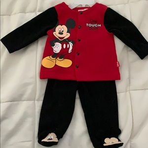 Two piece Mickey Mouse footie outfit